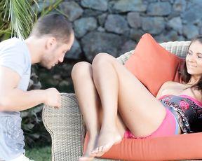Teen wearing leggings love having a cock shoved down her throat