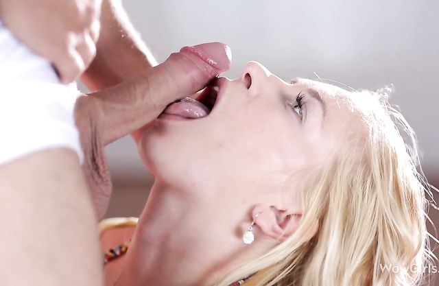 Hot blonde throats hard before being fucked in her tight pussy