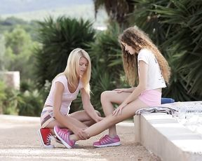 Exclusive outdoor lezzie romance for two teens with superb forms