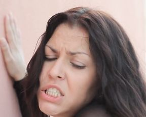 Brunette bitch gets naked and deepthroats a big cock then fucks it