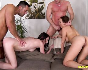 Two bitches with tight pussies love getting manhandled by two dudes