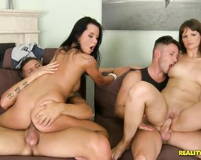 Naked girls with great bodies fuck two dude senseless until they jizz them