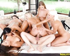 A group of super hot naked slut girls share the cock of a lucky dud