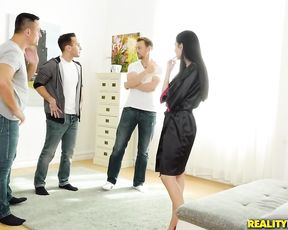 Steaming hot woman gets ass plugged before going hardcore with a few guys