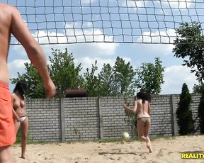 Three naked sluts fuck one dude outdoors drive him to the hottest orgasm