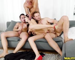 Naked bitch loves getting manhandled by three studs with hard cocks