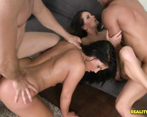 Cum-thirsty naked sluts deepthroat and ride big cocks in a nasty scene