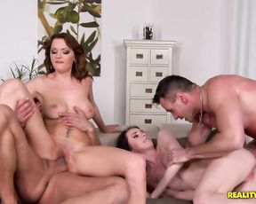 Two sluts with tight pussies get destroyed by two dudes with massive cocks
