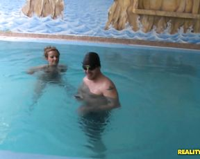 One dude massages then proceeds to fuck two bitches in the pool