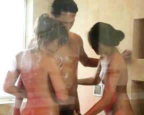 Two sluts get a hardore fucking in the shower from a big fat cock