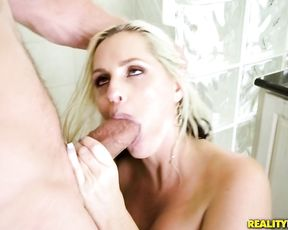 Stepmom with huge tits seduces stepson and fucks him hard in the shower