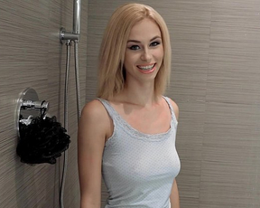 Blonde babe loves masturbating and sucking cock in the shower