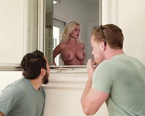 Blonde mature MILF gets her throat fucked in the shower by stepson