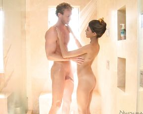 Naked woman in amazing nude scenes of raw porn down at the shower