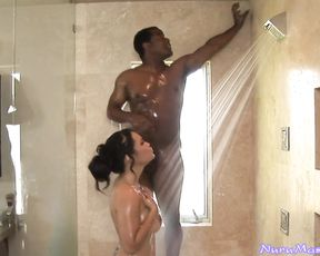 Black stud with a big cock fucks hardcore a slut's tight pussy in the shower