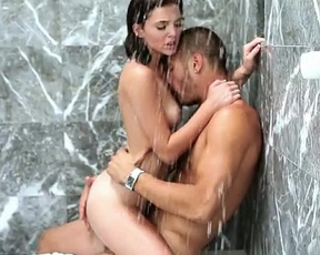 Couple have a great time fucking hardcore in the shower until they cum