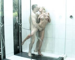 Blonde slut gets her pussy destroyed in all positions in the shower
