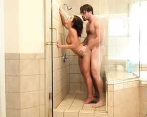 Brunette slut is surprised by her brother in the shower and gets fucked