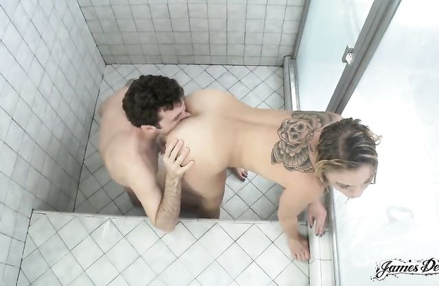 Tattooed blonde slut gets her ass eaten and fucked in the shower