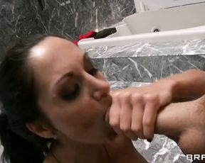 Brunette slut takes a cock in her mouth and in her tight pussy in the shower