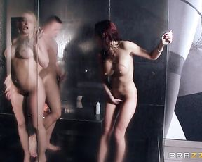 Skinny grl gets her cunt impaled on a cock in the shower gets slammed rough