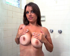 Naked honey soaps herself while taking a shower and squeezed big boobs