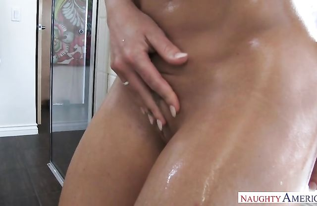 Topnotch girl soaps her body and perky tits in the shower and rubs her twat