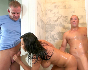 Milf slut goes for two hard cocks in the shower gets mouth and twat banged
