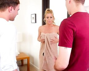 Alluring mom soaps her fantastic body in the shower and seduces a son's friend