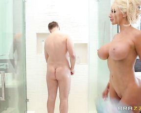 Naked milf throats cock like a goddess during a smashing shower XXX