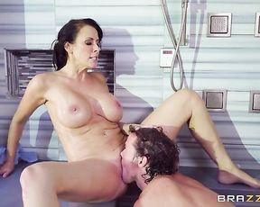 Young dude eats wet juicy pussy of a naked busty cougar in the shower