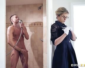 Super steamy mom porn with the naked mature taking on a young cock in the shower