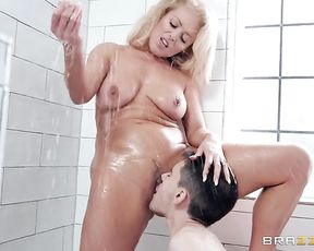 Fantasy hard sex in the shower room with a naked blonde doll on fire