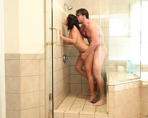 Naked teen gets the dick hard and steady while in the shower