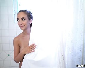 Busty nude beauty sure seems like smashing some inches in the shower
