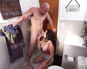 Sloppy blowjob on a big dick for a naked slut with impressive skills