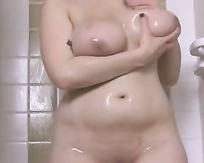 Perfect solo masturbation in the shower with a chubby ass blonde babe