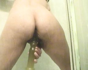 Nude wife plays with her new dildo in supreme amateur shower scenes