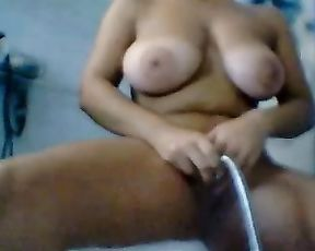 Big ass babe reveals her nude forms in a solo fantasy masturbation show