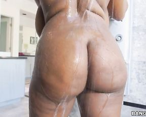 Naked girl with huge tits, perfect ebony solo pleasures in the shower