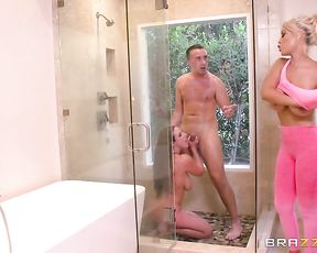 Perfect nude trio with two females in a sexy shower scene at home