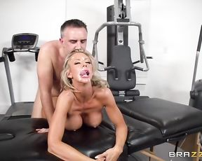 Naked blonde needs to take a shower after such a huge facial