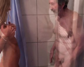 Old man gets to fuck his naked niece down the shower in a perfect XXX