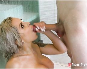 Spying stepmother gets fucked by her stepson hardcore in the shower