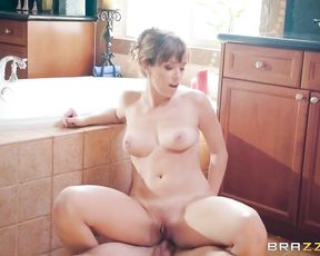 Nude girl slides whole cock in her soapy pussy during erotic shower
