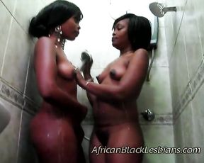 Ebony sweeties spend their time in the shower loving each other insanely