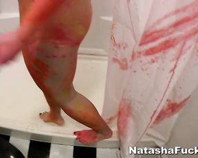 Smeared chick rubs her body in the shower touching her clit and ass nicely
