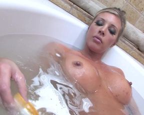 Kinky lesbian girl soaps her pussy in the shower and gets it eaten by a girl