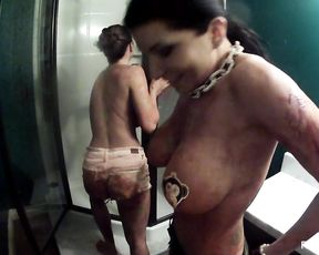 MILFS with fake tits masturbate in the shower and get filmed as they cum
