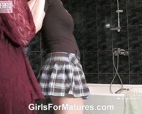 Kinky lesbian slut undresses her blindfolded girlfriend in the shower playfully
